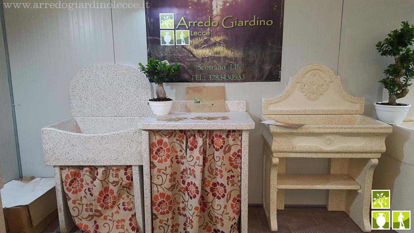 Pile e lavabi in graniglia di marmo - Arredo Giardino Lecce